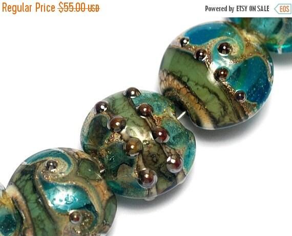 ON SALE 50% OFF Glass Lampwork Bead Set - Seven Ocean Blue w/Silver Foil Pillow Beads 10406702
