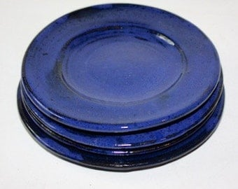 Cobalt Blue  Plates in Cobalt Blue Stoneware   Good for Salad, Lunch, Dessert Four MADE TO ORDER