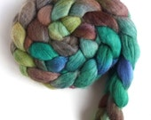 Finn Wool Roving - Hand Painted Spinning or Felting Fiber, Green on Green