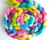 Polwarth/Silk 60/40 Roving - Handpainted Spinning or Felting Fiber, Sweet Voices