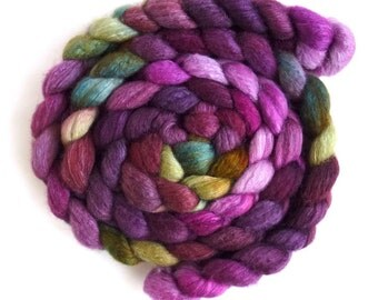 Blueface Leicester/ Tussah Silk Roving (Top) - Handpainted Spinning or Felting Fiber,  Giant Celosia