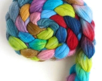 Merino/ Superwash Merino/ Silk Roving (Top) - Handpainted Spinning or Felting Fiber, Take My Hand