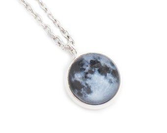 Full Moon Silver Pendant Necklace Lunar Night Sky