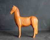 Vintage Hand Carved Wooden Horse Figurine, Rustic Primitive Statue, 11 Inches x 10 Inches Mid Century Modern