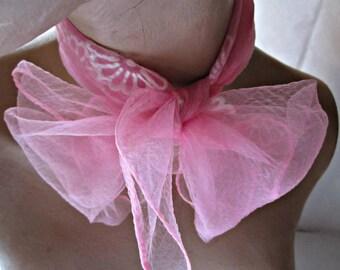 Scarf Nylon Scarf  Vintage Nylon Wrap Pink w White Floral Print Vintage Scarf.