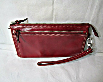 Red leather clutch wallet, unisex clutch Kenneth Cole New York