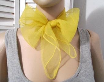 Nylon Scarf Nylon Yellow Scarf  Vintage Nylon wrap Vintage scarf