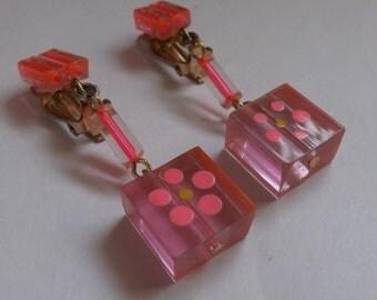 Vintage nos mod pink flower earrings lucite earrings painted earrings neon pink made in Japan on original card