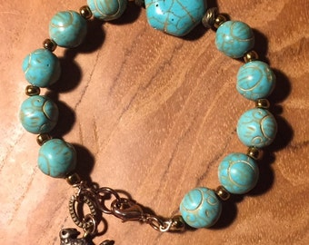 One of a Kind Turquoise bracelet with copper kitty charm, stackable