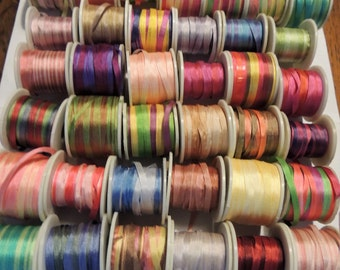 Gorgeous  790 yards of 4mm and 7mm silk ribbon