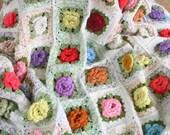 Vintage Flower Afghan,  Granny Square Blanket, Crochet Afghan Blanket, Colorful Pastel Afghan
