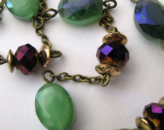 Jade Green and Purple Necklace, Jade Green and Purple Crystal Antique Bronze Necklace
