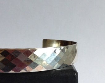 15% Off Sterling Silver Cuff Bracelet - Diamond Pattern Cuff - 25th Anniversary Gift