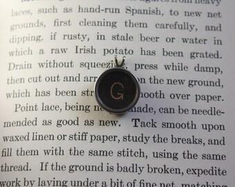 Typewriter Key Pendant Letter G on Bead Chain