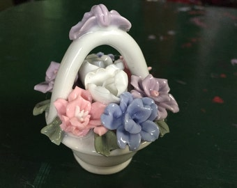 Porcelain Flowers, Vintage Miniature Flower Basket Bouquet, White Ceramic Flowers, Cute Vintage Gift, Stocking Stuffer Pink Flowers Violets