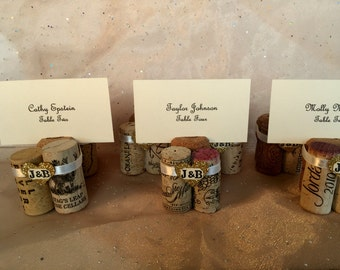 Wine Cork Place Card Holder Table # Menu Holder Your Initials with Your Ribbon Color Choice,Gold Glitter Heart Wedding Reception Anniversary