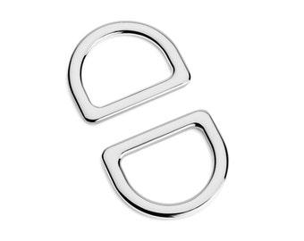 "10pcs - 1"" (25mm) Flat Zinc D-Ring - Nickel - (FDR-108) - Free Shipping"