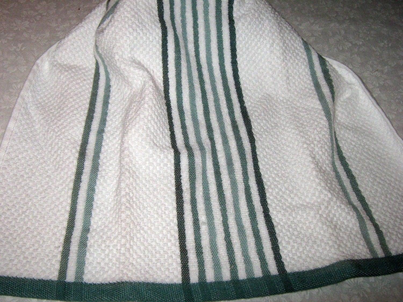 Crochet Kitchen Hanging Towel white with bluish green