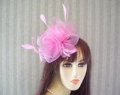 "Cotton Candy Pink Kentucky Derby Fascinator Hat, Easter, Tea Wedding, Bridal Party, ""PINKY"""