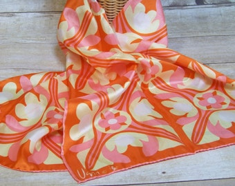 Vintage Vera Neumann Ladybug Signed Scarf Head Wrap Mod 1960's Pink/Yellow/White/Orange Retro Fashion Spring Summer