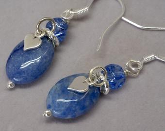 Pretty Blue Earrings, Feminine Blue Sodalite Earrings, Sterling Silver Earrings with Silver Hearts, Birthday Gift for Her, Sodalite Jewelry