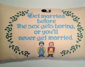 Embroidered Pillow - Custom Designed Literary Quote