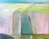 Industrial landscape, original oil painting on canvas