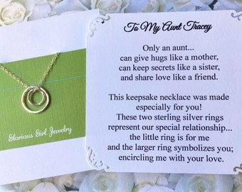 AUNT Necklace Sterling Silver Aunt Jewelry PERSONALIZED POEM Card Gift for Aunt New Aunt GiFT WRAPPEd To Auntie Gift from niece from nephew