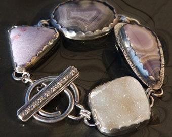 champagne druzy, agua nueva agate, laguna agate, lepidolite/tourmaline and sterling silver metalwork bracelet