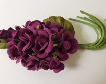 Vintage Deep Purple Cotton Roses Millinery Bunch