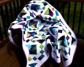 Price Reduced -Tropical Waters Large Lap Quilt, Twin Quilt,  or Throw - Sale