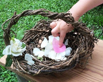 Birdnest Flower Girl Baskets, Eco Conscious Wedding, Flower Girl Basket, English Ivy, LBN4
