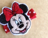 Boutique Embroidered Minnie Mouse Felt Hair Clip