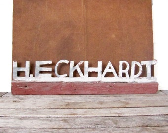 Vintage Eckhardt Nameplate - Folk Art Mailbox Topper - Handmade Family Name Sign - H. Eckhardt Industrial Sign - Metal Lettering Crest