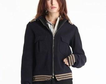 ON SALE Blue Wool Jacket 1950s Outer Wear