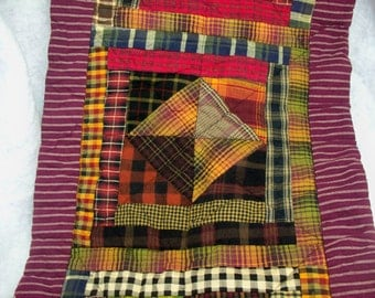 CABIN PATCHWORK, 13 X 32 handmade quilted  table runner or wallhanging