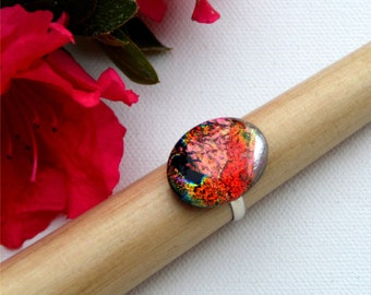 021 Fused dichroic glass ring, adjustable, oval, orange, red, silver and pink