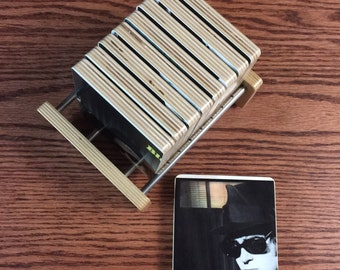 BLUES BROTHERS recycled album cover coasters with handcrafted holder