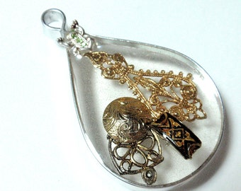 Filigree and a Frog Large See Through Geometric Tear Drop Pendant Vintage Assemblage and Resin Ornament Sun Catcher Acrylics D3