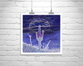 Psychedelic, Surreal, Blue, Cactus, Moon, Arizona, Desert, Cacti, Amethyst, Purple, Photography Print, Square Art, Square Print, Saguaro