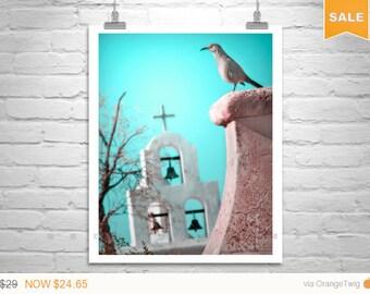 Sale 15% Surreal Art, Bird Photography, Teal Bird Art, Tucson, Arizona, Church Art, Southwest Art, San Xavier Mission, Art Photography, Bird