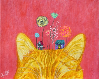 """Colorful Cat Wall Art Orange Cat Ears Wall Decor Original Painting on Canvas Housewarming Gifts for Cat Lovers Free Shipping Art Gift 8""""x10"""""""