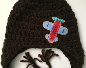 Newborn hat.. Earflaps.. Airplane.. Photo prop.. Chocolate brown.. Ready to ship
