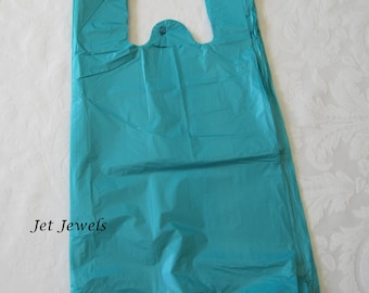 50 Plastic Bags, T-Shirt Bags, Blue Plastic Bags, Turquoise Bags, Tee Shirt Bags, Shopping Bags, Merchandise Bags, Bags with Handles 7x16