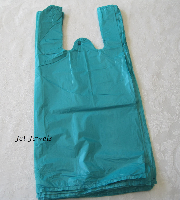 100 plastic bags t shirt bags tshirt bags blue bags gift for Custom plastic t shirt bags
