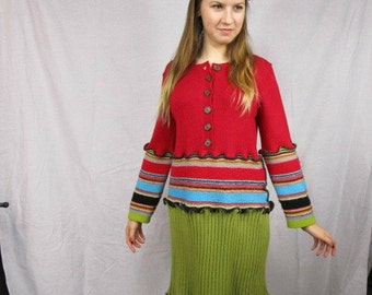 Medium Reconstructed Multi Colored Cotton Sweater Dress// Upcycled Recycled// Bright Colorful// emmevielle