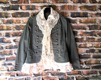 L-XL Romantic Military Tea Stained Ruffled Lace Marching Band Jacket// Upcycled// emmevielle