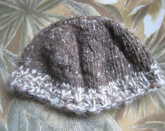 Hat, Angora Hat, Hand Spun Merino Cross Wool Hat, Knit Angora Hat, Natural Brown and White Hat, Angor Rabbit, Skull Cap Style, Fits Most
