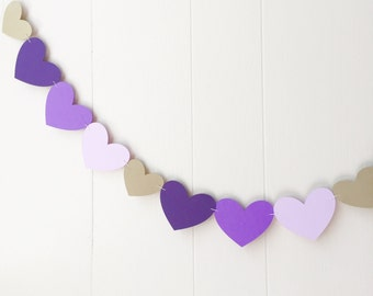 Nursery Wall Accent / Heart Garland / Wedding Decoration / Love Bunting / Love Decor / Photo Prop / Heart Bunting / purple and gold