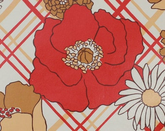 1970s Retro Vintage Wallpaper Red Brown and White Flowers by the Yard